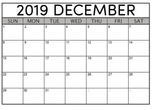 Printable December 2019 Monthly Calendar
