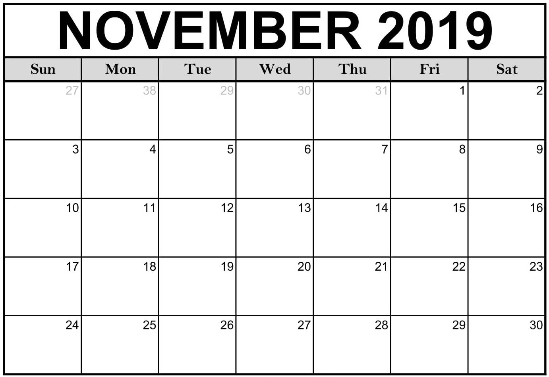 Printable November 2019 Calendar Template