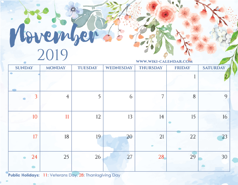 Printable November 2019 Floral Calendar