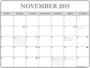 Printable November 2019 Moon Calendar