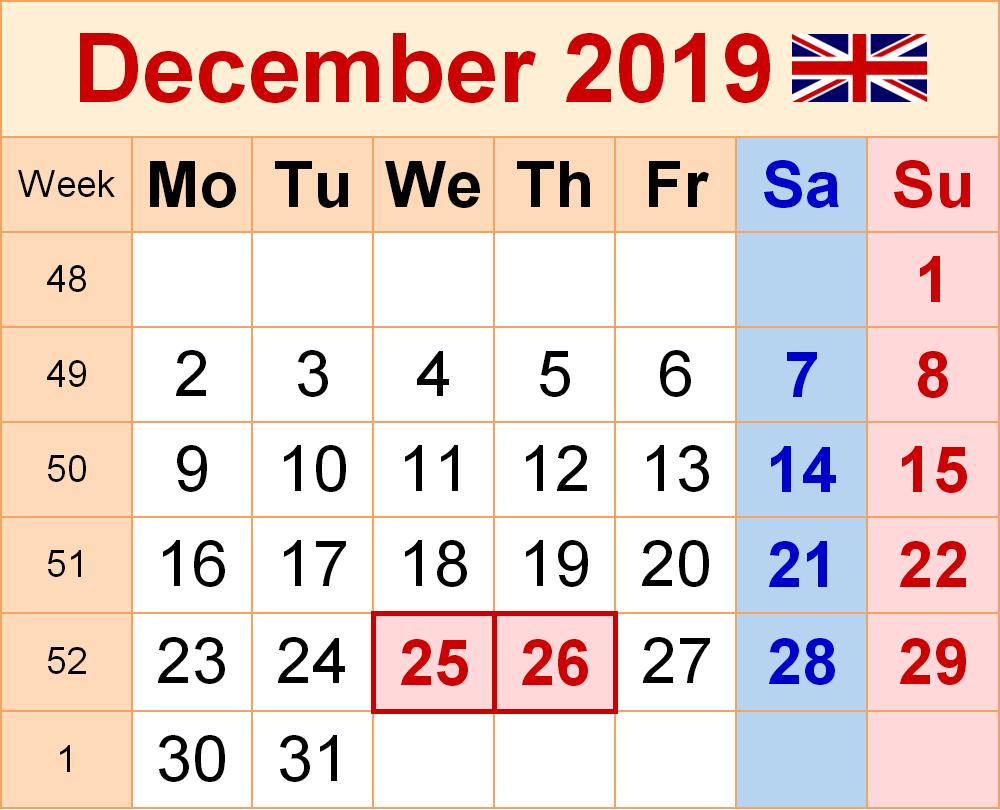 UK Holidays Calendar December 2019