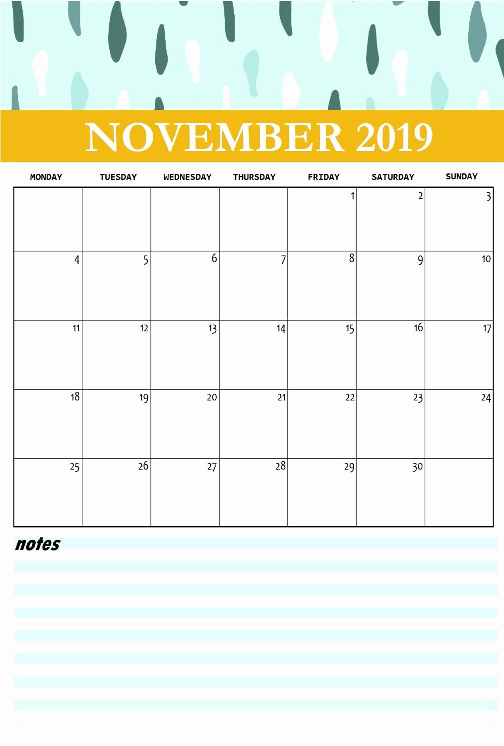 Wall Calendar November 2019