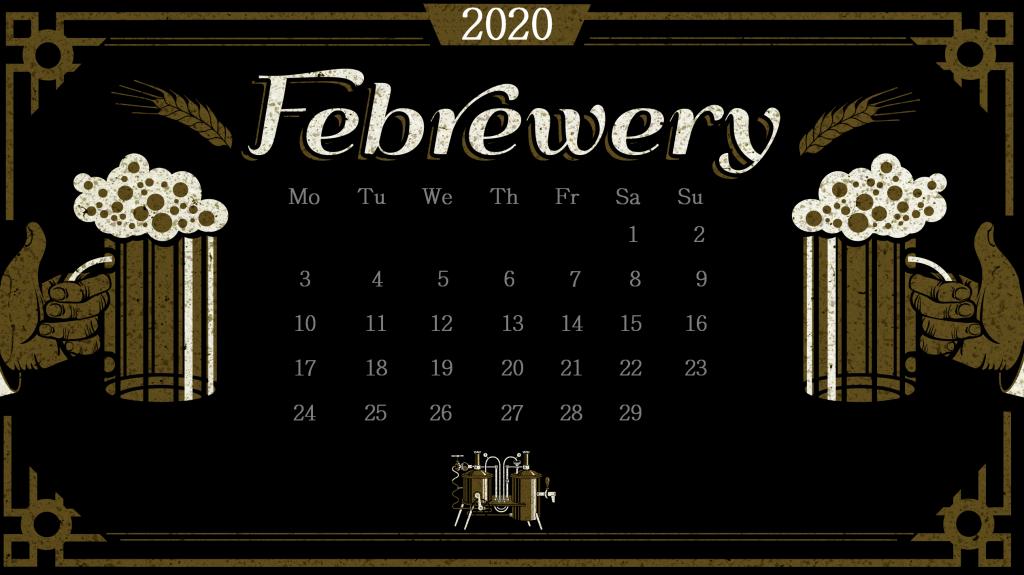 2020 February Desk Calendar Template
