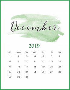 Aesthetic Cute December 2019 Calendar Printable