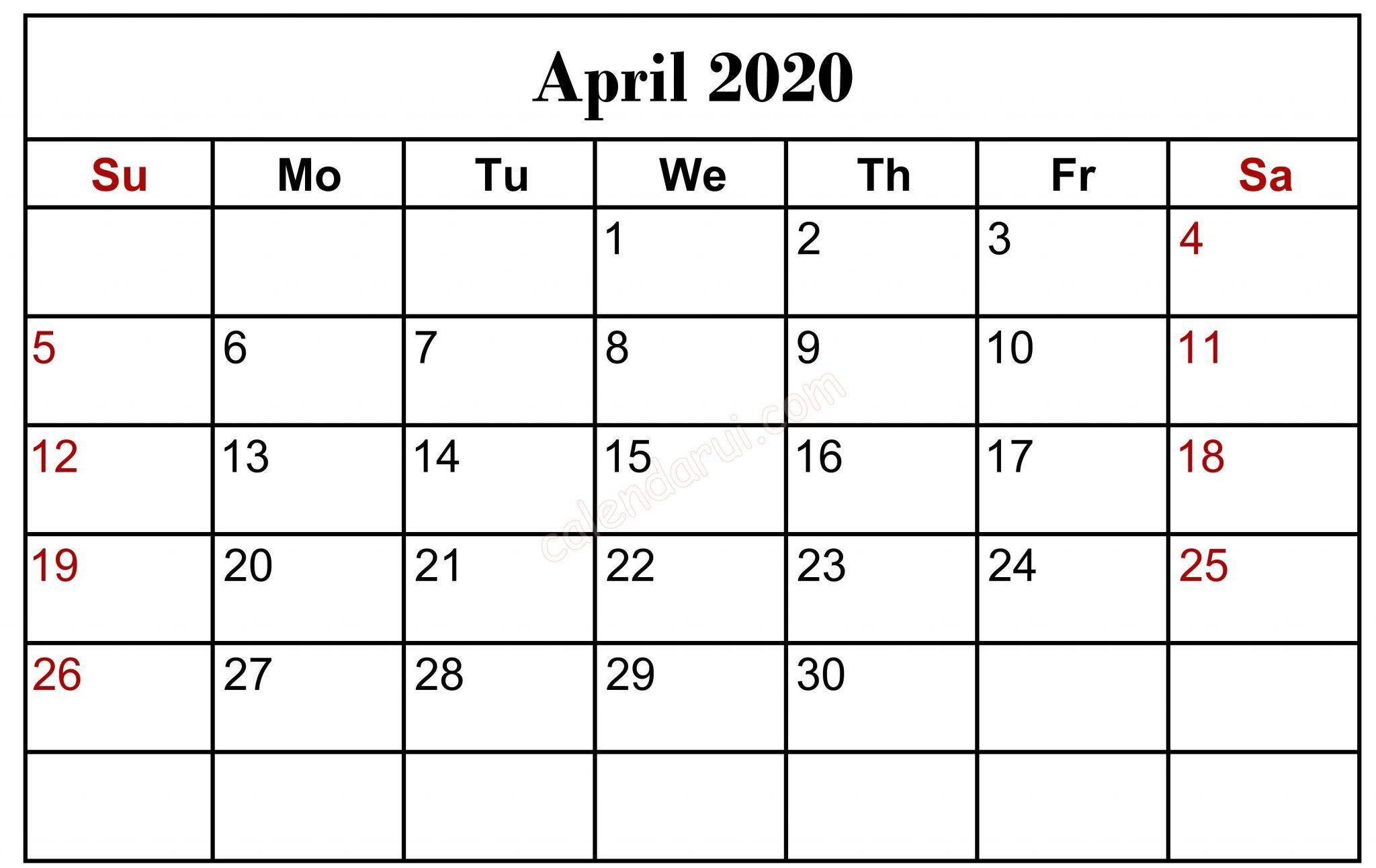 April 2020 Blank Calendar Printable