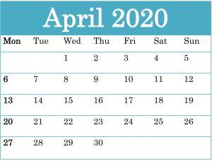 April 2020 Calendar Template Free Word