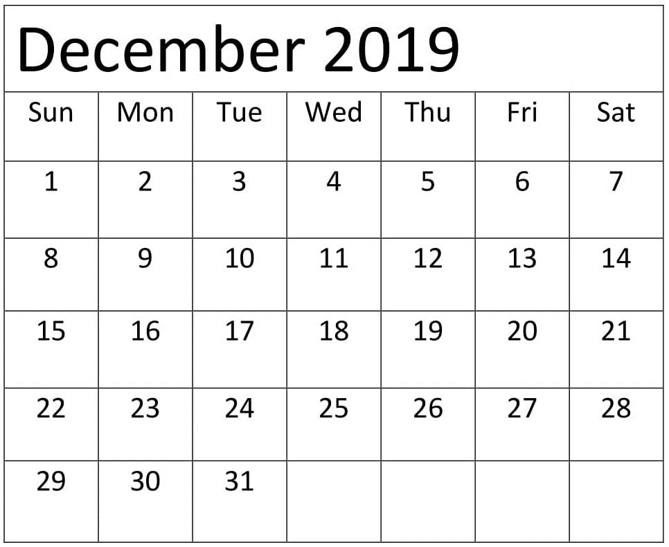 Blank December 2019 Calendar Template