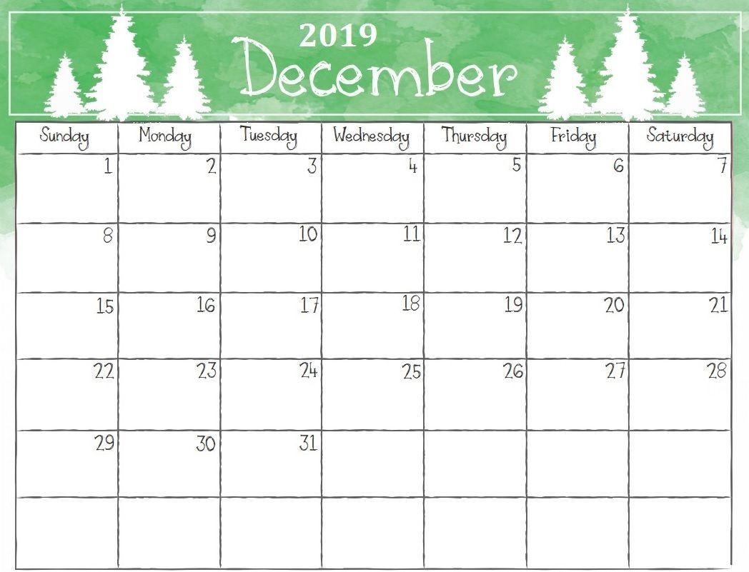 Cute December 2019 Calendar Template