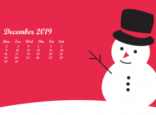 Cute December 2019 Calendar Wallpaper