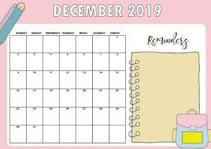 December 2019 Calendar Cute