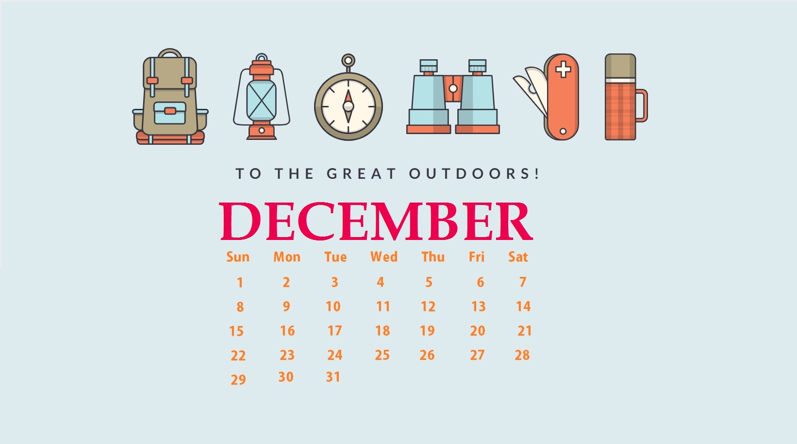 December 2019 Calendar Screensaver
