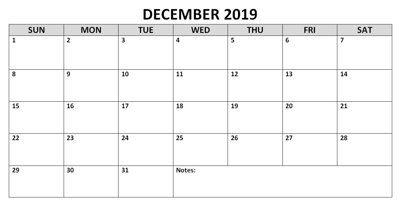 December 2019 Calendar Template Printable