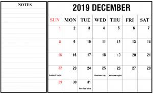December 2019 Calendar Template Word