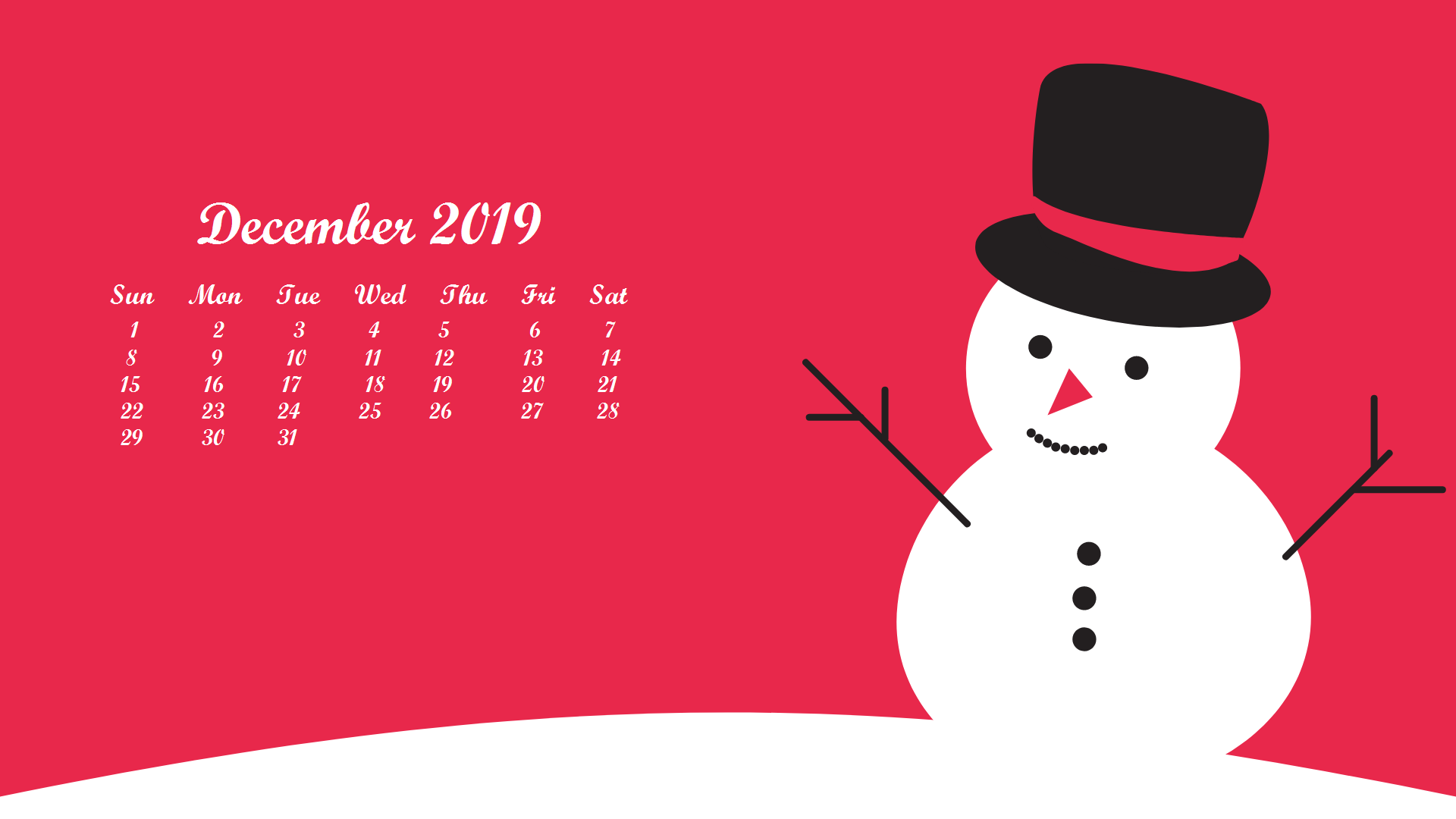 December 2019 Desktop Calendar Wallpaper