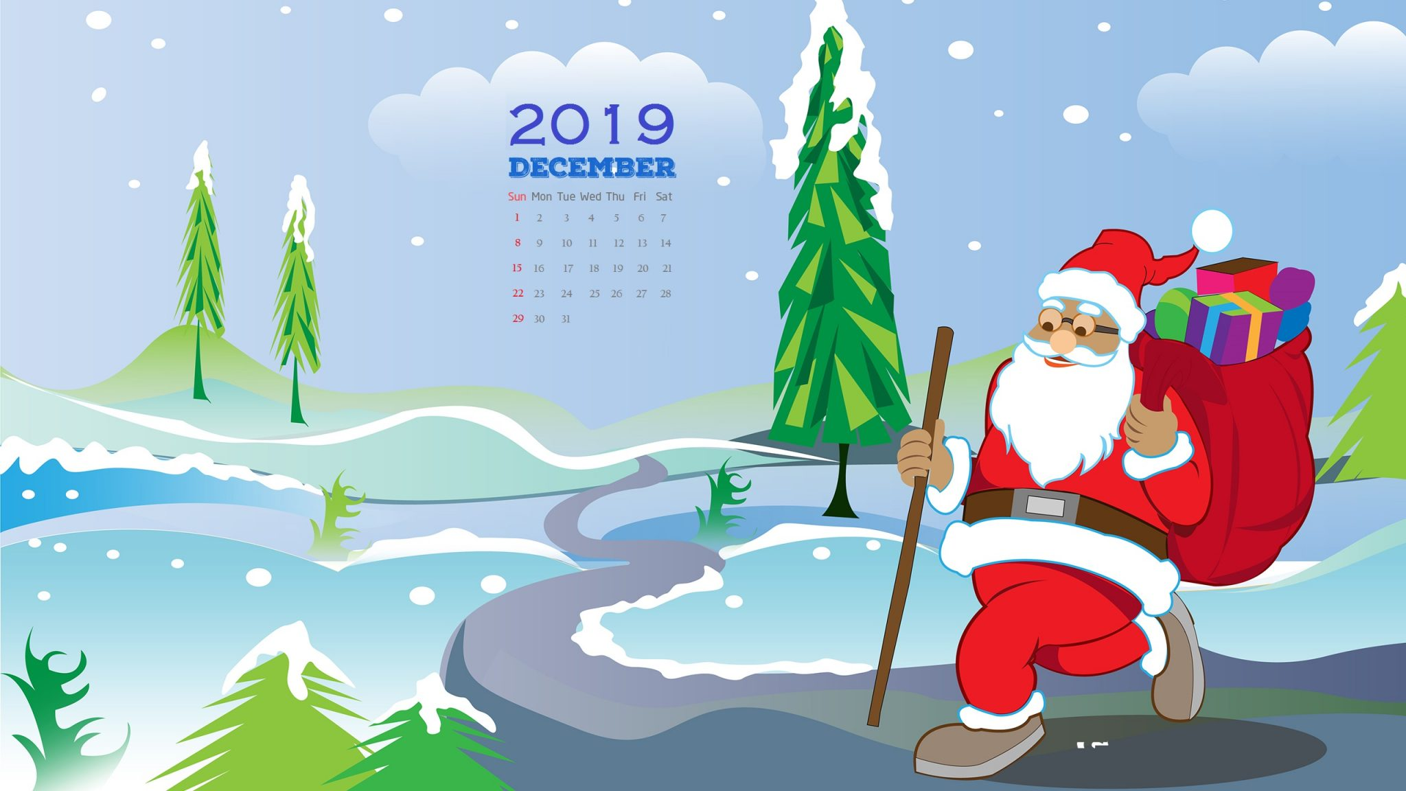 December 2019 HD Calendar Wallpaper