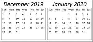 December 2019 January 2020 Calendar Template