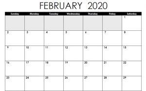 Editable Calendar February 2020