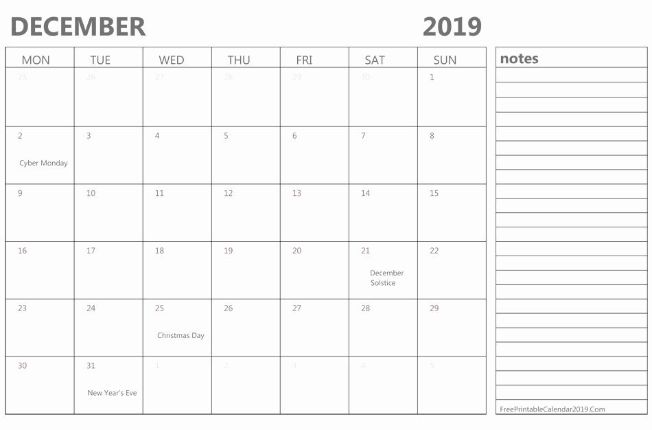 Editable December 2019 Calendar with Notes