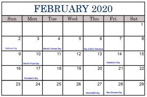 February 2020 Calendar Printable Free Holidays