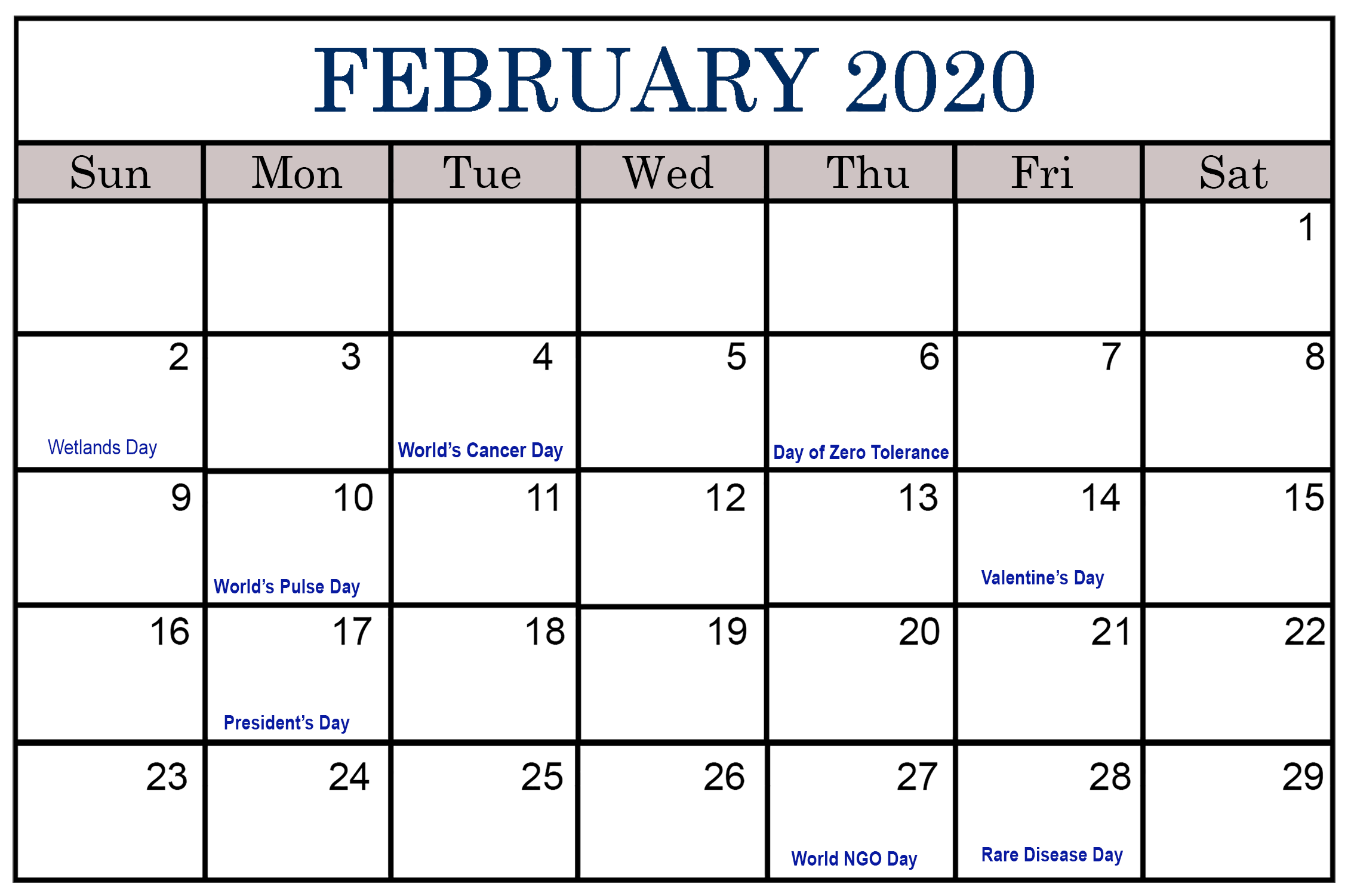 February 2020 Calendar Printable Free Holidays