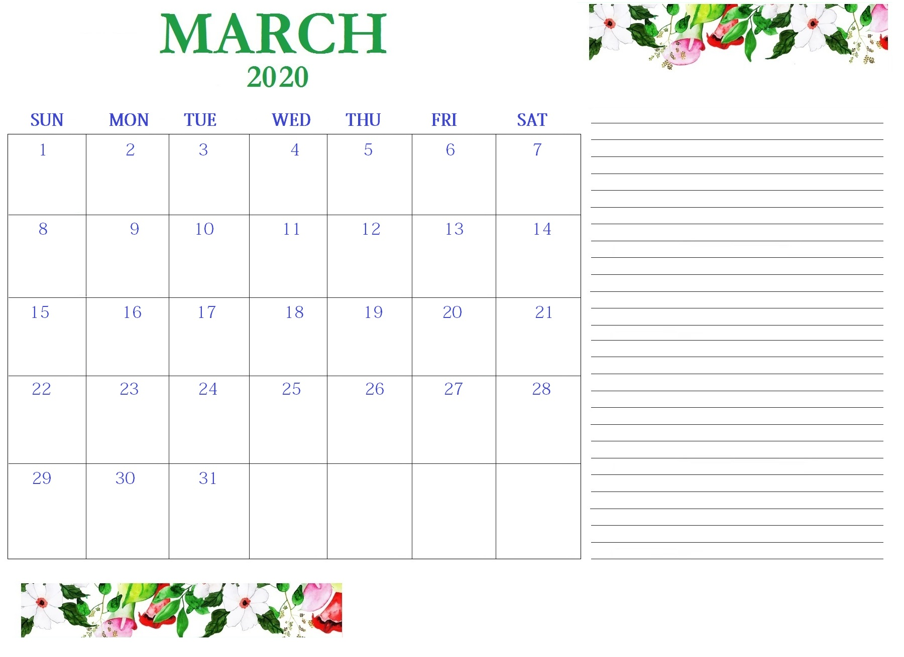 Floral March 2020 Desk Calendar with Notes
