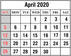 Monthly April 2020 Calendar Template