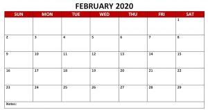 Monthly February 2020 PDF Calendar Landscape