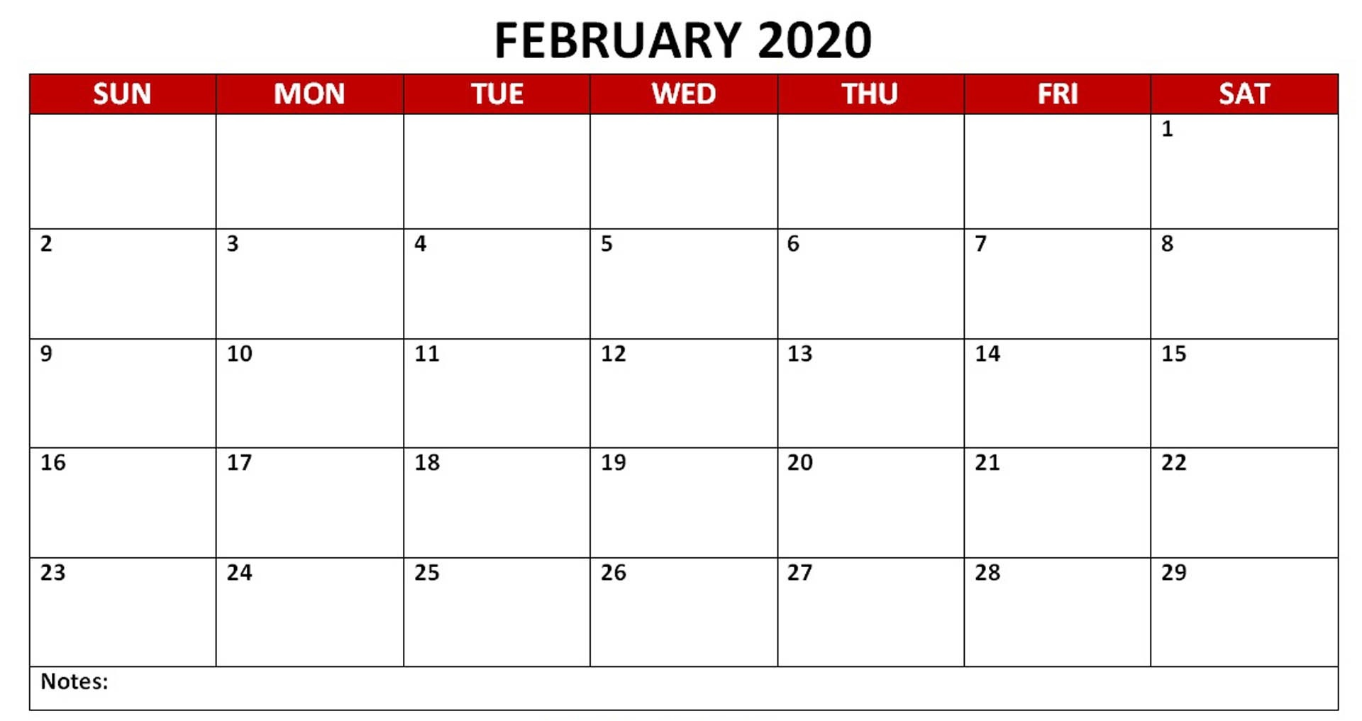 Monthly February 2020 PDF Calendar Landscape