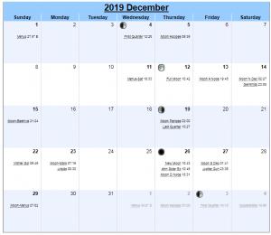 New Moon Calendar December 2019
