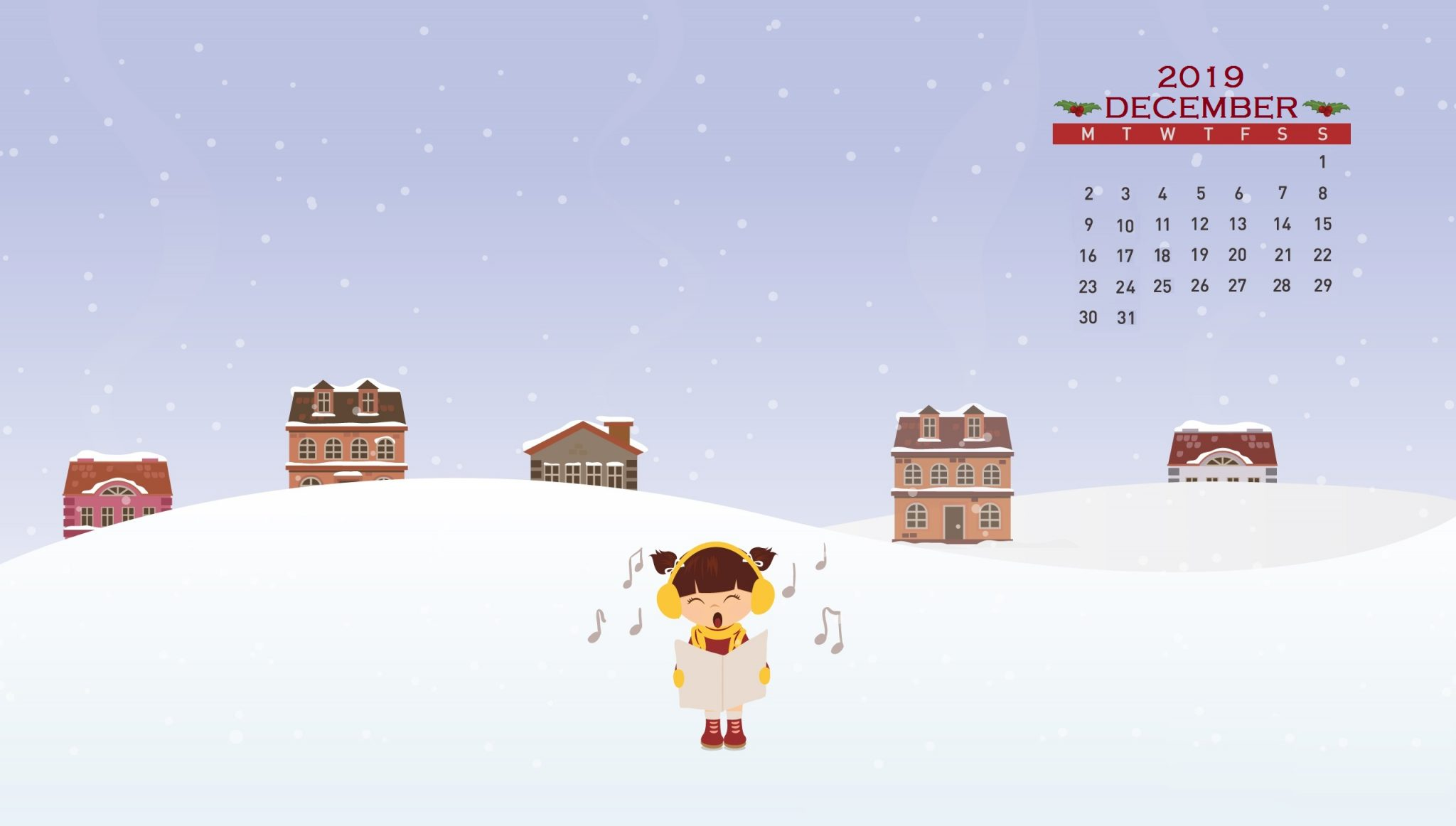 Winter December 2019 Calendar Wallpaper