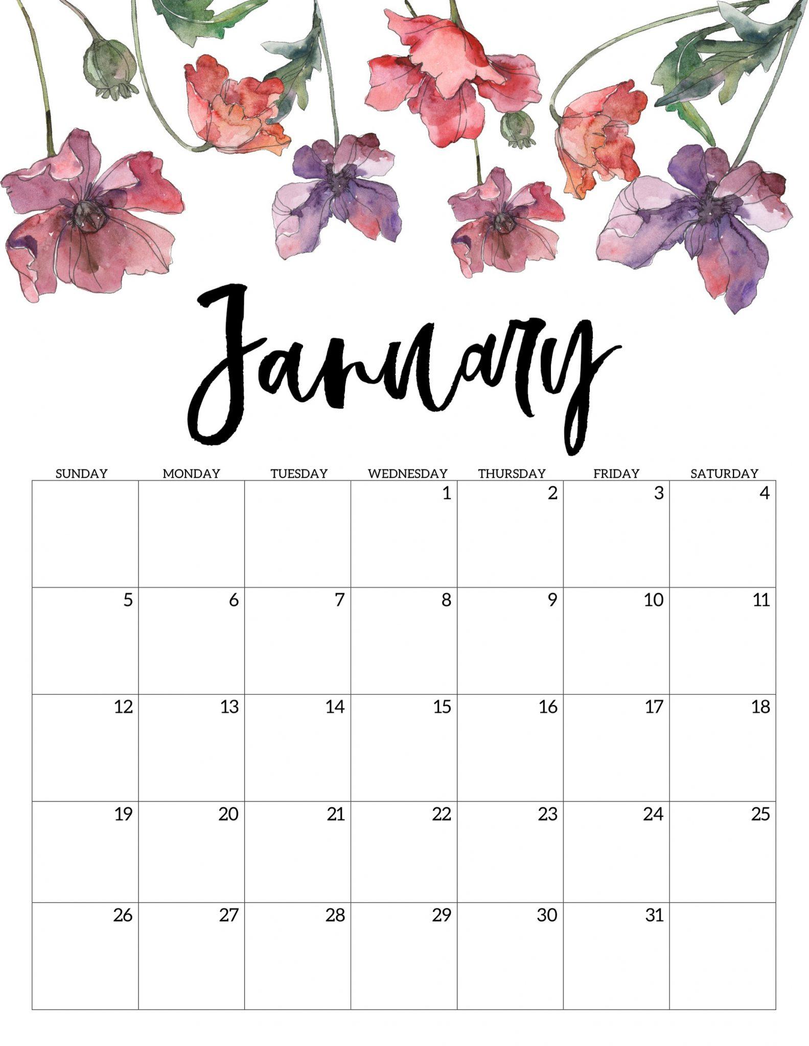 2020 January Floral Calendar