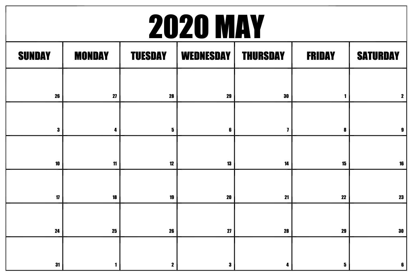 2020 May Calendar