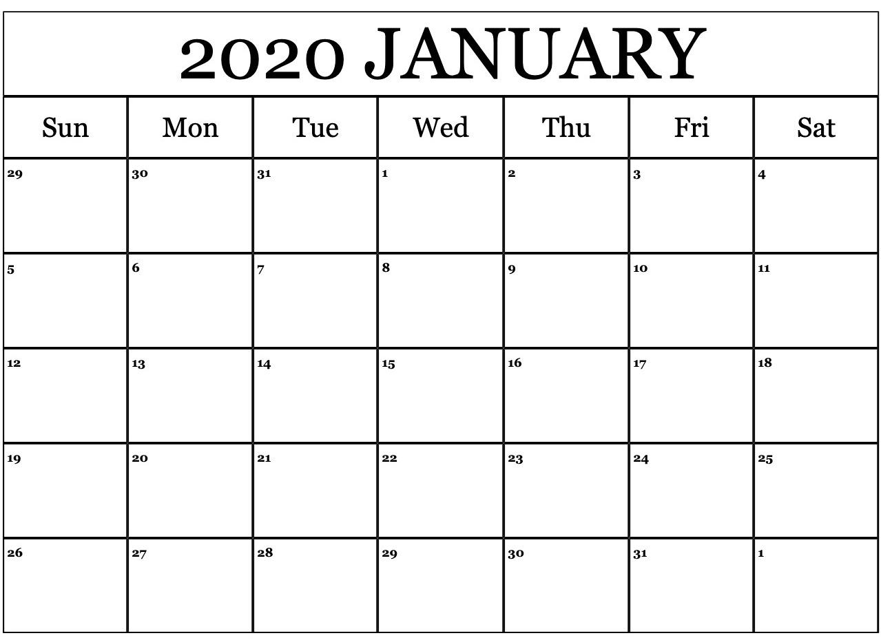 Blank Calendar Editable Template January 2020