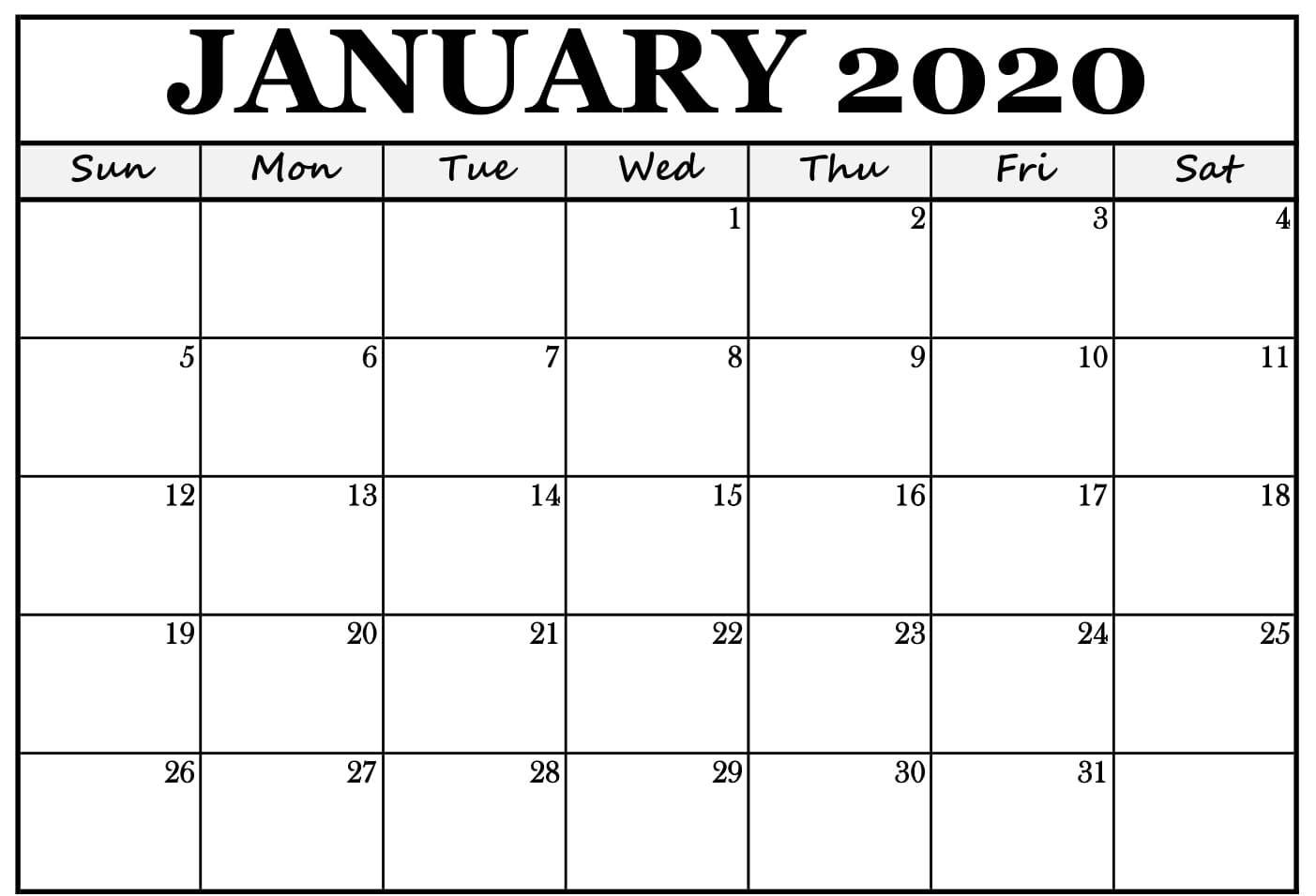 Blank Calendar January 2020 Editable