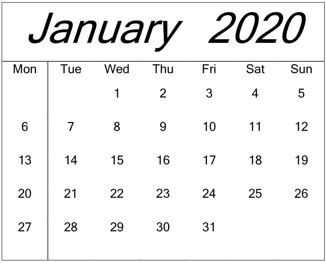 Blank Calendar January 2020 Word