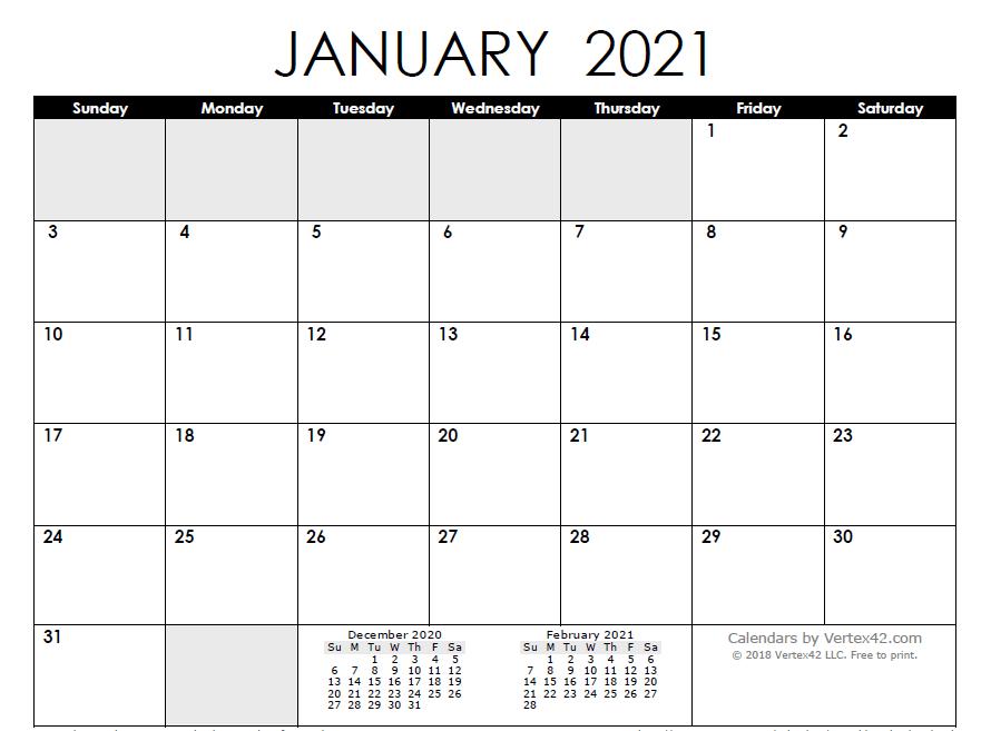 Blank Calendar Template January 2021 - Free Printable 2021 ...