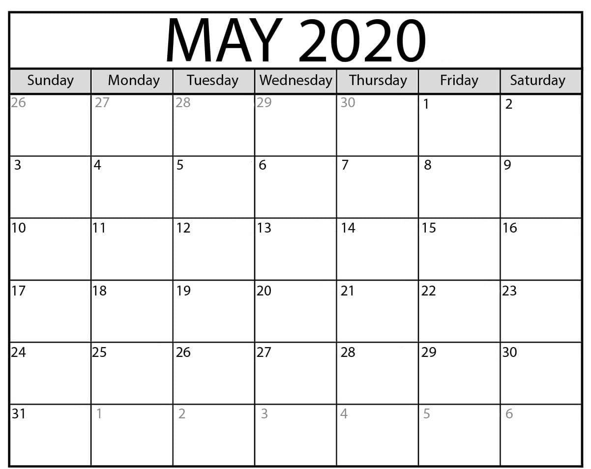 Blank May 2020 Printable Calendar