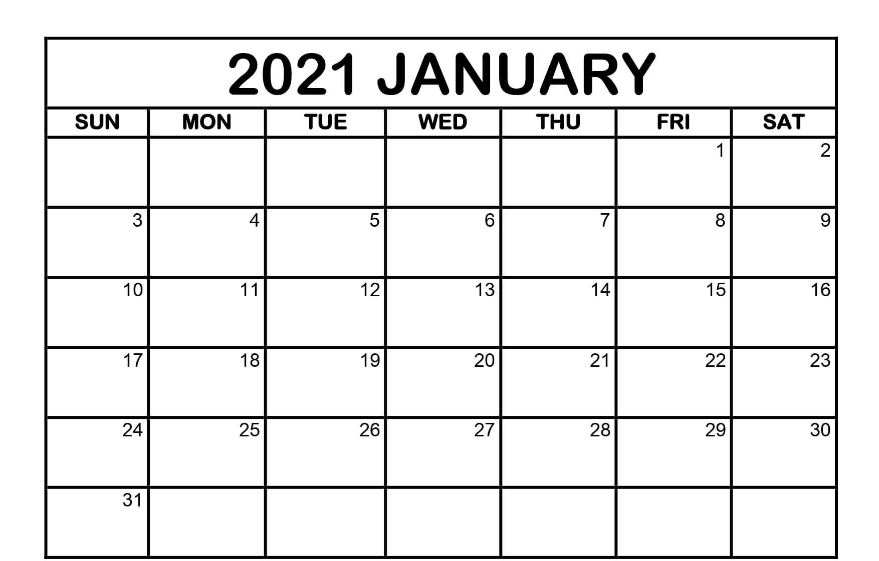 January 2021 Blank Calendar Pages - Free Printable 2021 ...