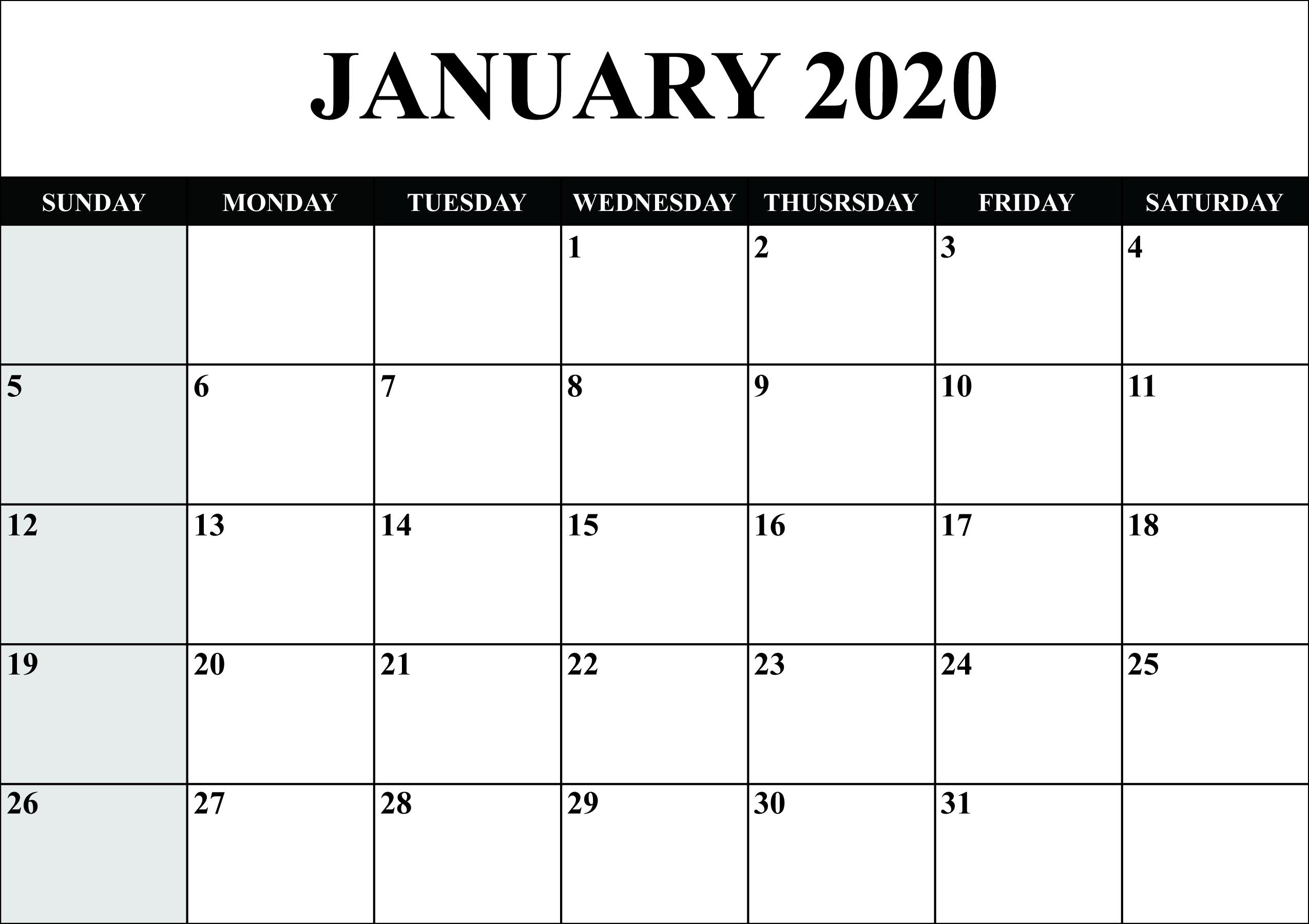 Monthly January 2020 Calendar Blank