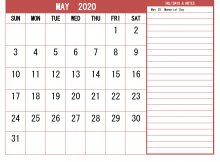 Monthly May 2020 Calendar Template