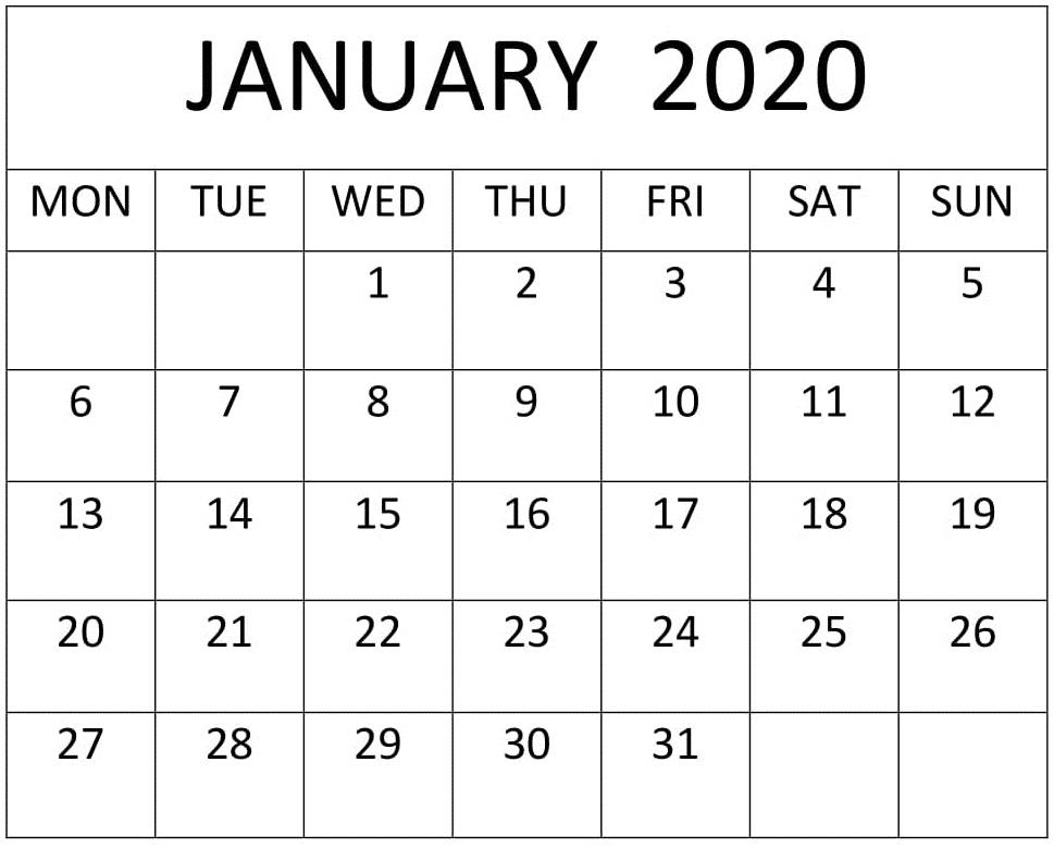 Print Blank Calendar January 2020 Excel