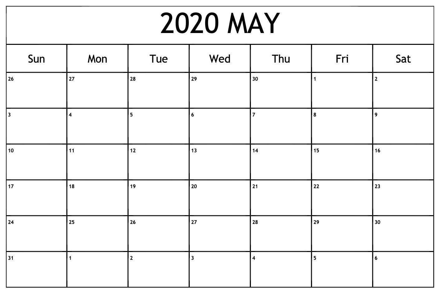 Print May 2020 Calendar Page