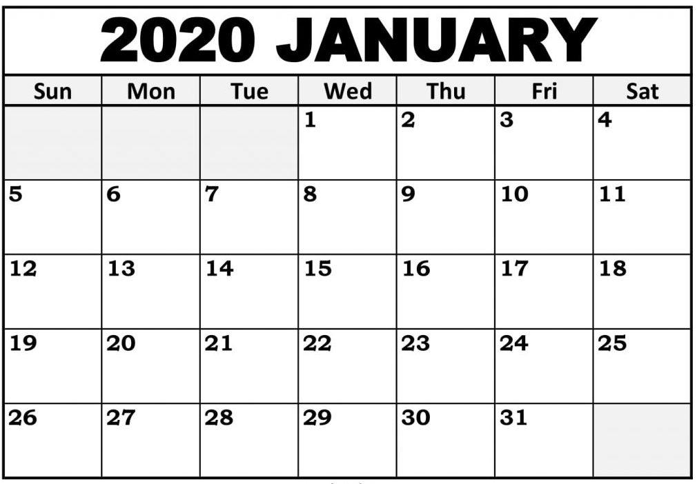 Printable January 2020 Calendar Blank Template