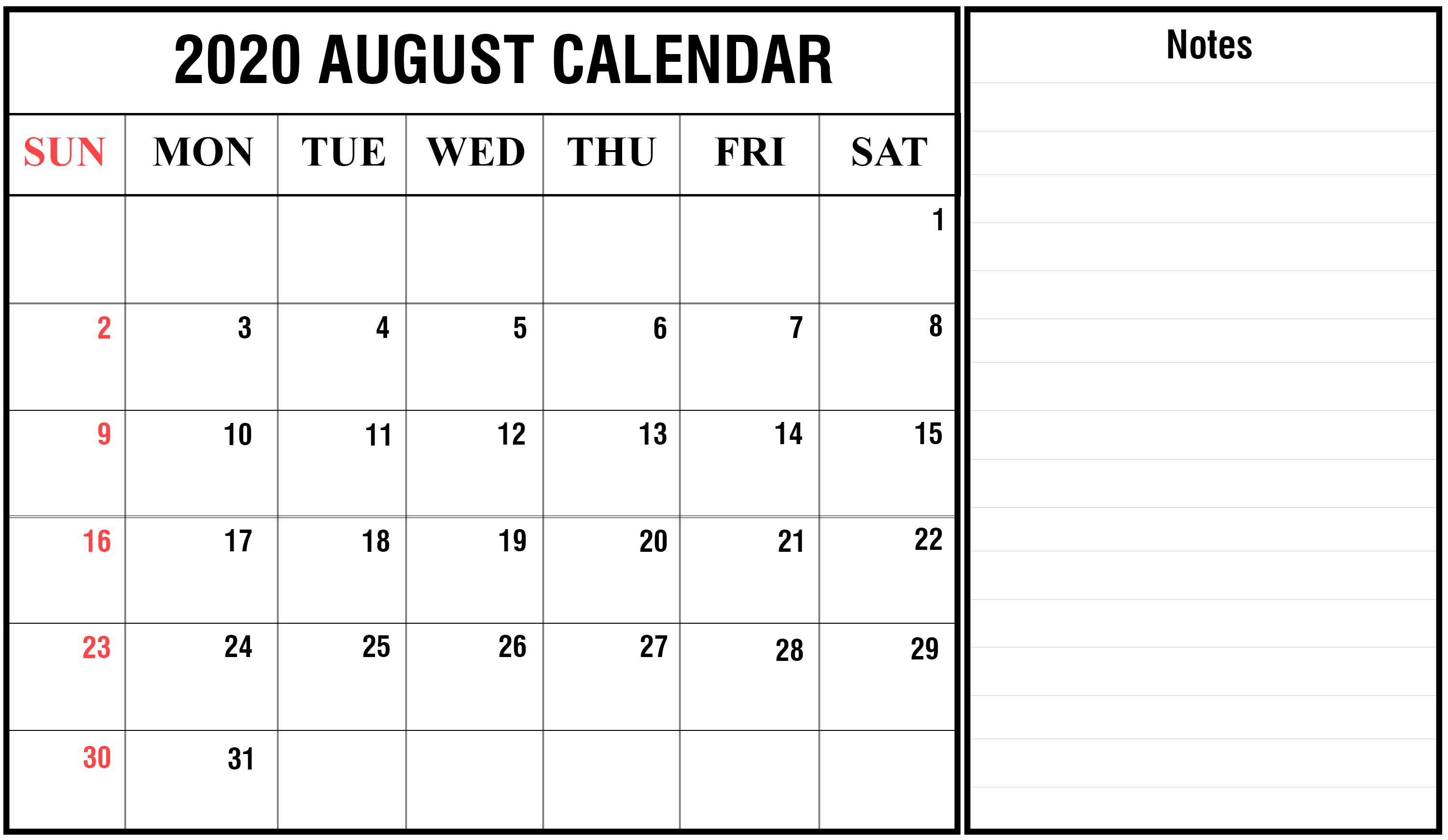2020 August Calendar with Notes