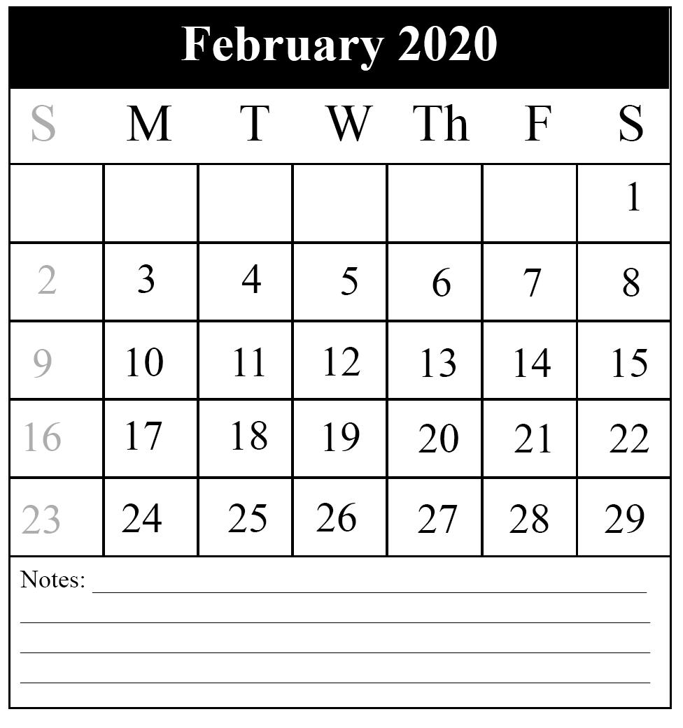 February 2020 Calendar Printable Portrait