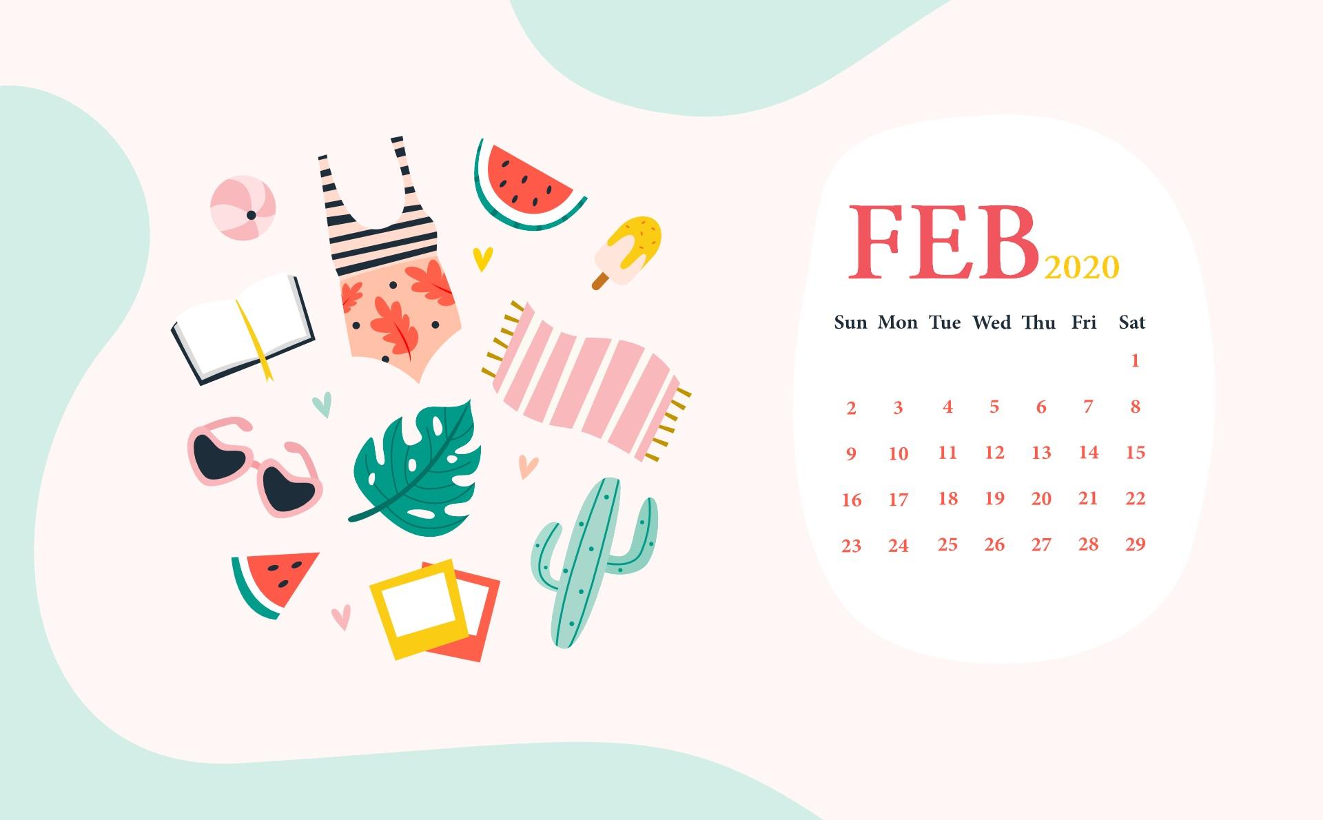 February 2020 Calendar Wallpaper