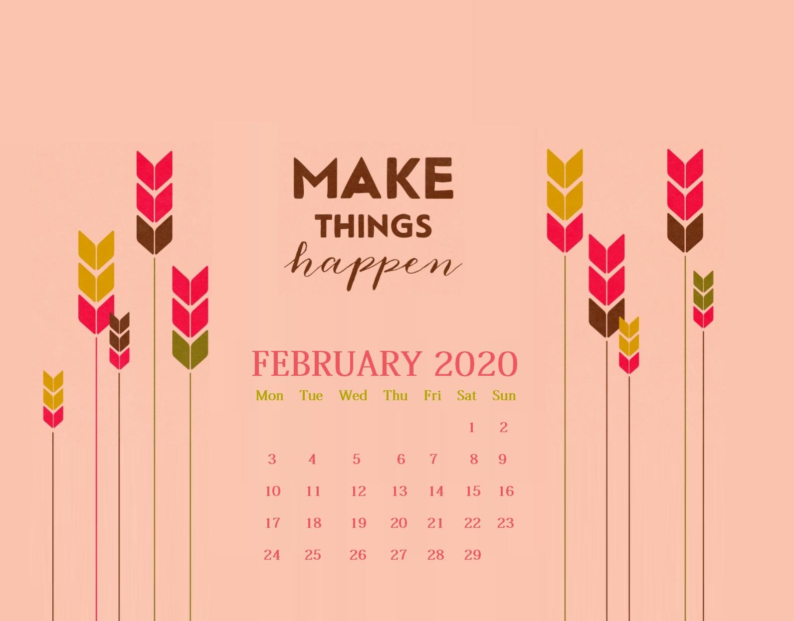 Latest February 2020 Desktop Calendar Wallpaper