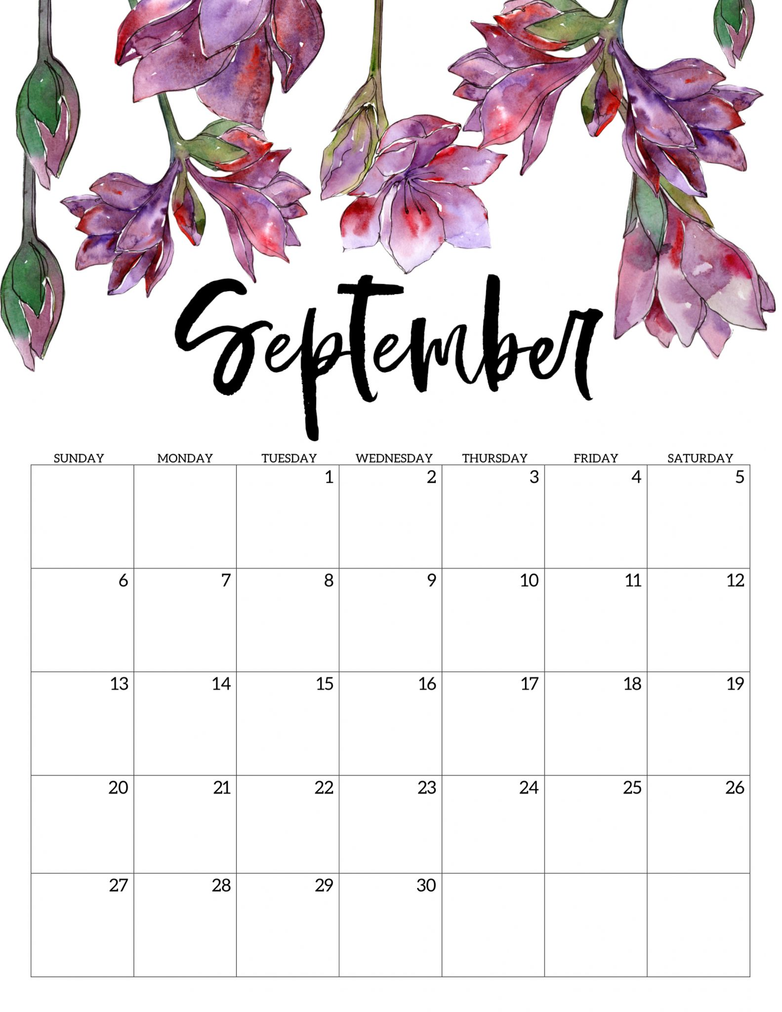 Floral September 2020 Calendar Template