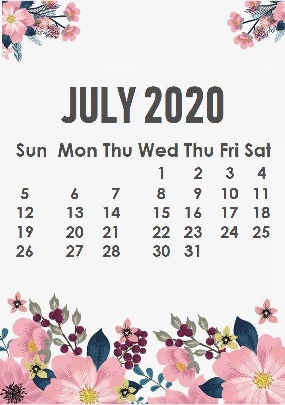July 2020 Calendar Wallpaper
