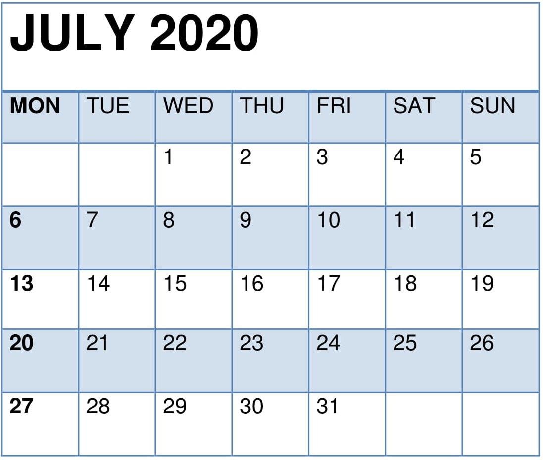 July 2020 Printable Desk Calendar